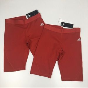 2 Adidas Alphaskin Compression Red Active Shorts